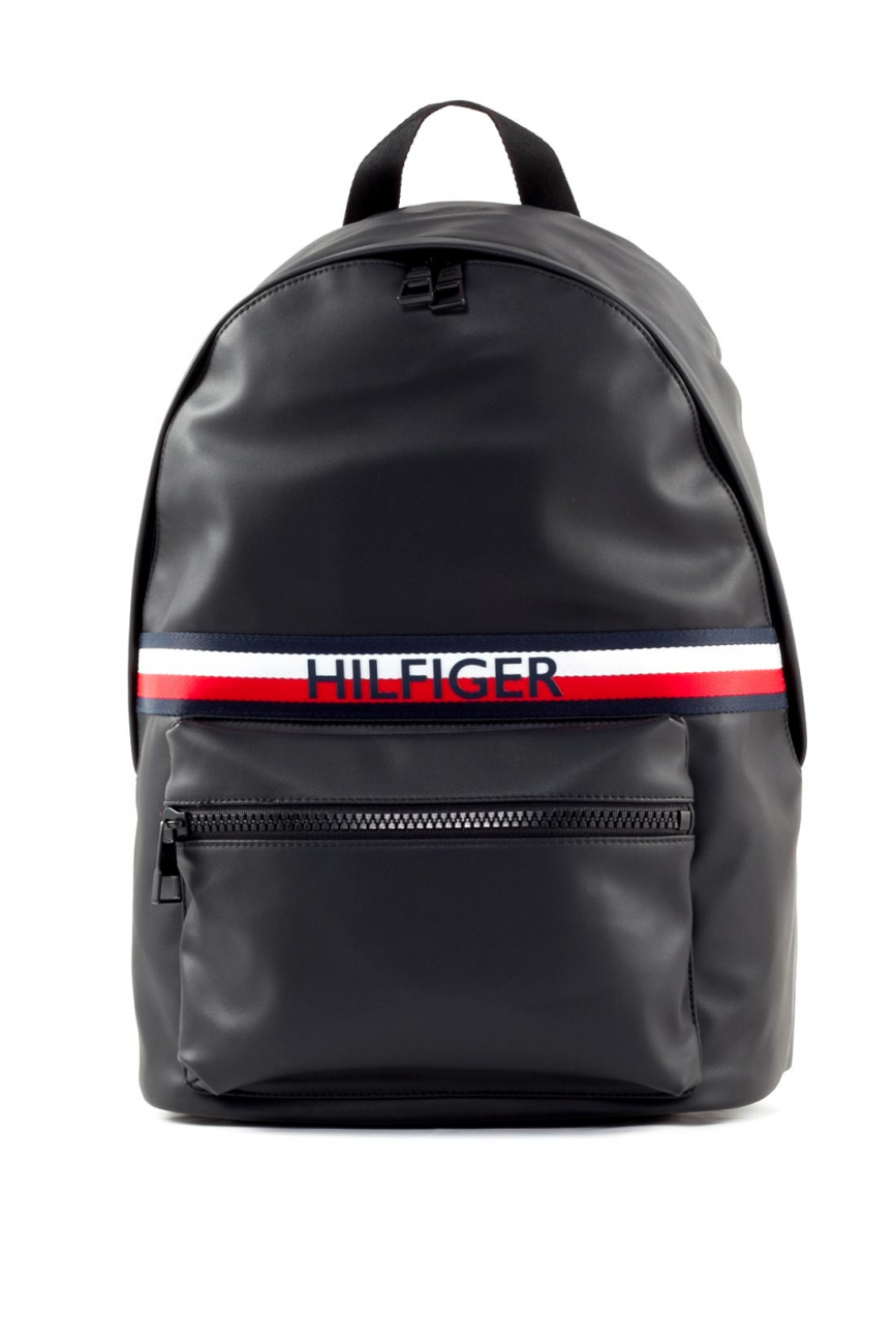 TOMMY HILFIGER Men's black synthethic leather urban backpack