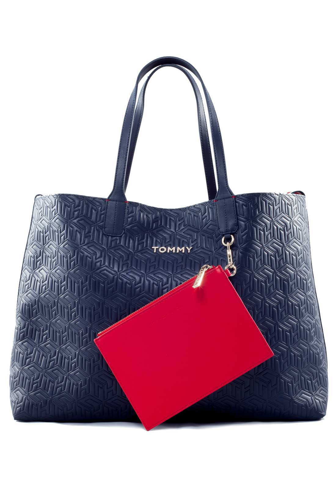 TOMMY HILFIGER Women's navy blue tote bag with monogram in relief