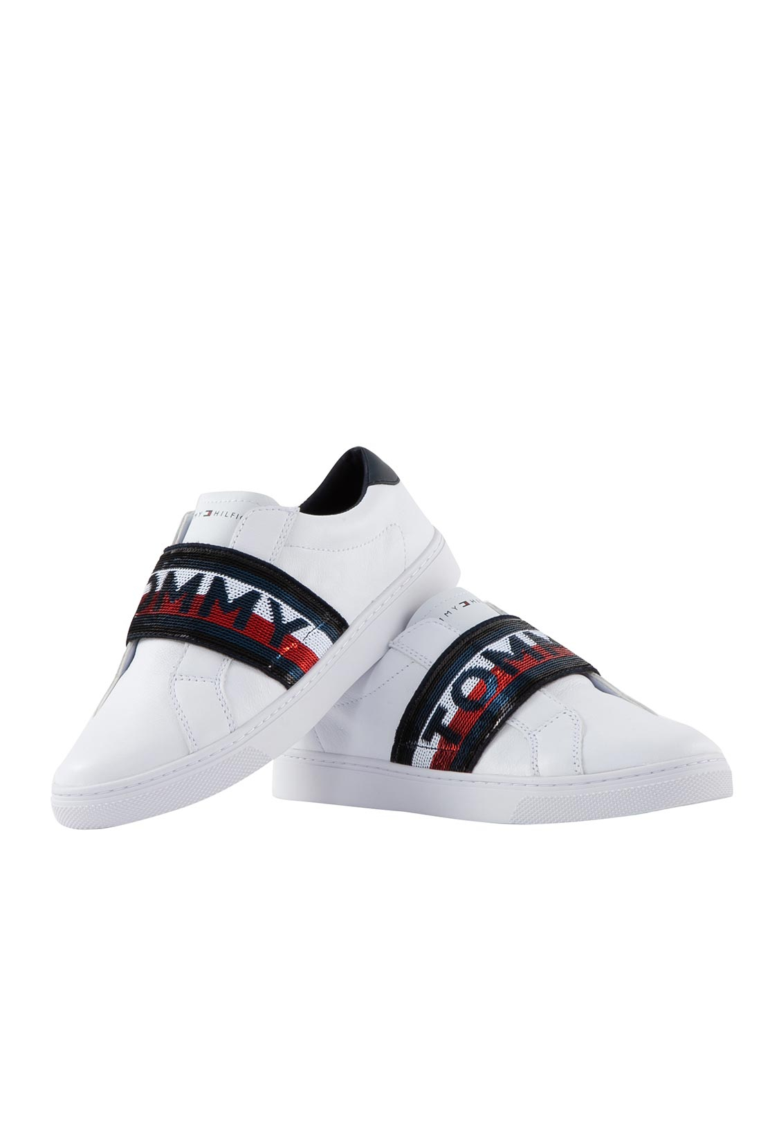 TOMMY HILFIGER Sneakers donna slip on bianche con glitter