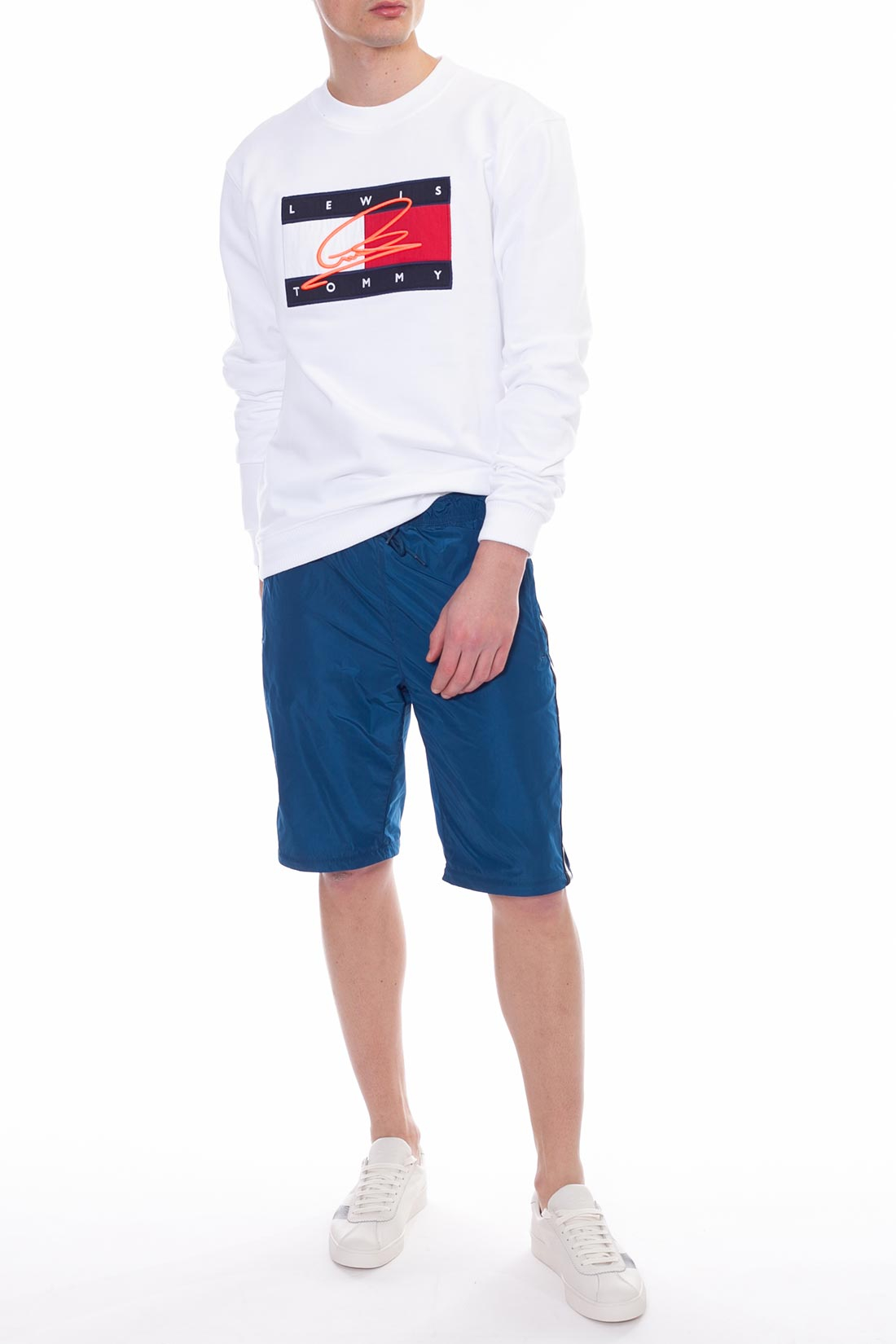 TOMMY HILFIGER X LEWIS HAMILTON Men's white hoodie with logo flag