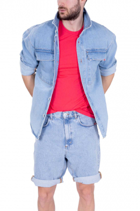 AMISH - Camicia uomo oversize in denim bleached