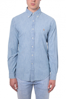 POLO RALPH LAUREN Uomo - Camicia slim fit in chambray azzurro