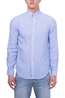 POLO RALPH LAUREN - Camicia uomo Slim fit in lino a righe