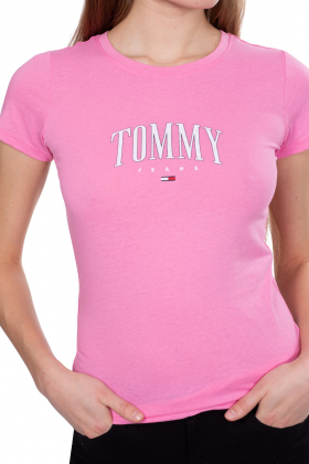 TOMMY JEANS - T-shirt donna slim con logo a contrasto