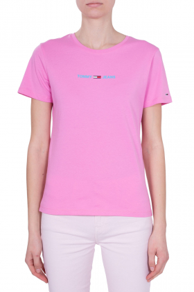 TOMMY JEANS - T-shirt donna slim con logo gommato